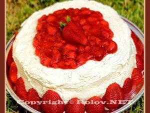 шоколадный торт со свежей клубникой