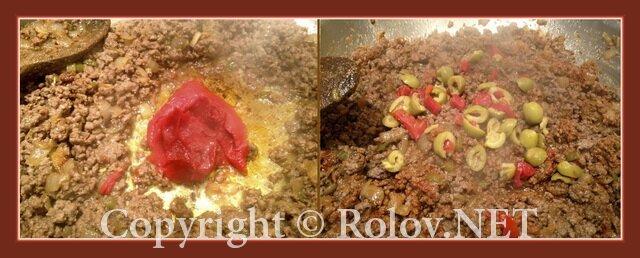 добавить пасту и оливки