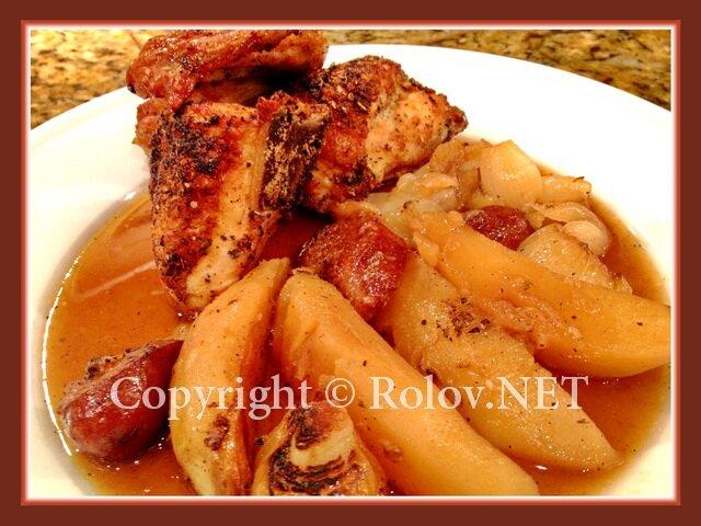 цыпленок с чоризо и картофелем