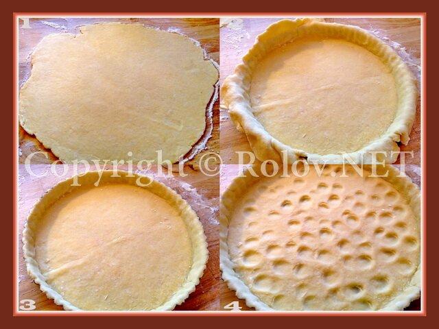 раскатать тесто и положить в форму