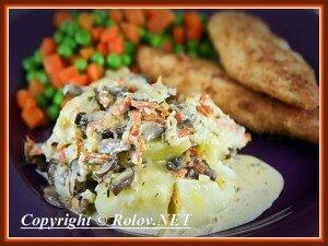Блюда из картофеля - картофель с грибами в сливках